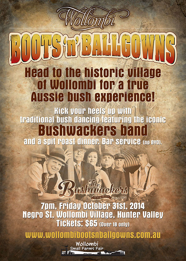 Wollombi Boots n Ballgowns, Hunter Valley Bushdance