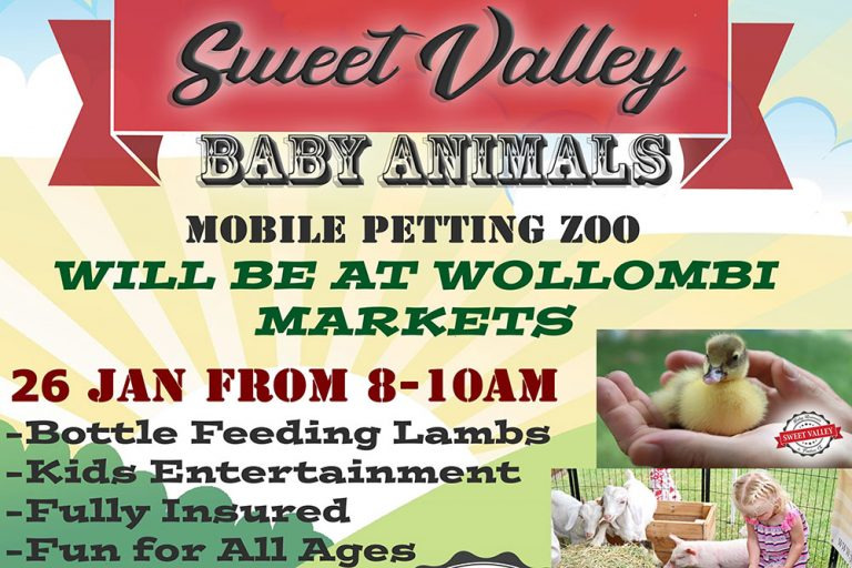 Mobile Petting Zoo at Wollombi Markets, Hunter Valley