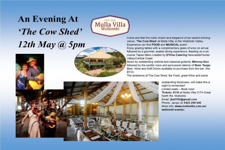 Evening at The Cow Shed, Food and Music Event, Mulla Villa Wollombi